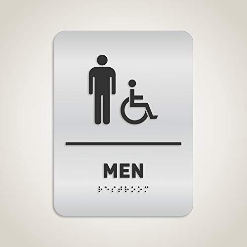 Men Restroom Identification Sign - Wheelchair Accessible, ADA Compliant Bathroom Sign, Raised Icons, Raised Braille, Brushed Aluminum, TCO Inspection Certified - by GDS Architectural Signage