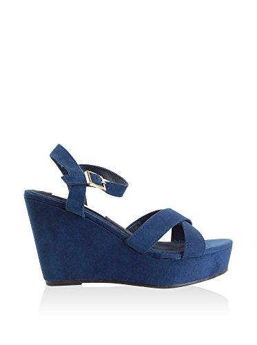 XTI 030147, Sandalias con Plataforma para Mujer Azul (Navy)