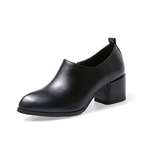 VogueZone009 Women's Blend Materials Kitten-Heels Pointed Closed Toe Solid Zipper Pumps-Shoes Black 3SM4Ek