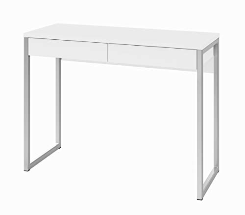 Tvilum Walker 2 Drawer Desk, White High Gloss (White Small Drawers)