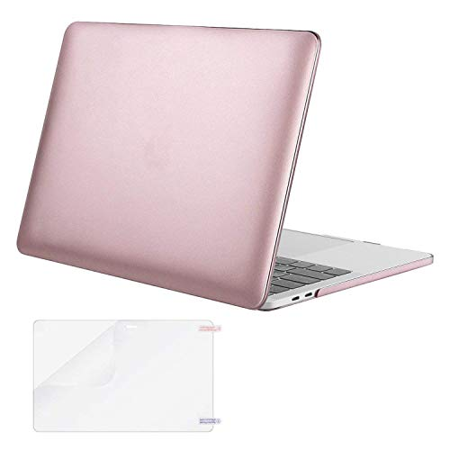MOSISO MacBook Pro 13 Case 2018 2017 2016 Release A1989/A1706/A1708, Plastic Hard Shell Cover with Screen Protector Compatible Newest MacBook Pro 13 Inch with/Without Touch Bar, Rose Gold