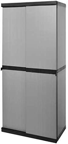 Ideapiu - Armario escobero para Exterior, Puertas correderas con 3 estantes, 1 Compartimento para escobas, 68 x 40,5 x 168 cm: Amazon.es: Jardín