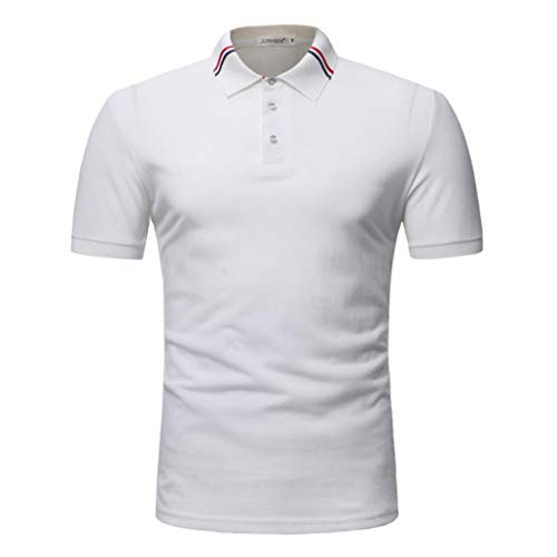 YOcheerful Men Polo T Shirt Tee Top Blouse Business Workwear Party Bar Vacation(White,2XL) -