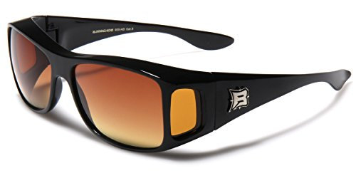 Barricade HD Rectangular Fit Over Glasses Sunglasses with Side - Sunglasses Over Safety Fit