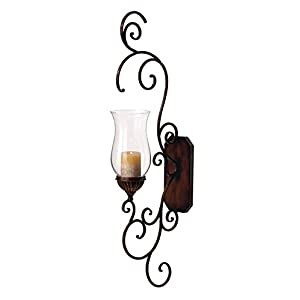 Deco 79 Metal Glass Wall Sconce, 39 by 13-Inch