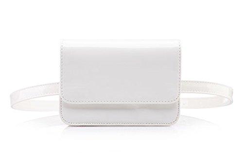 - Amily PU Leather Fanny Pack Waist Bag Elegant Fanny Pack Bum Bag Waist Pouch (Patent Leather White)
