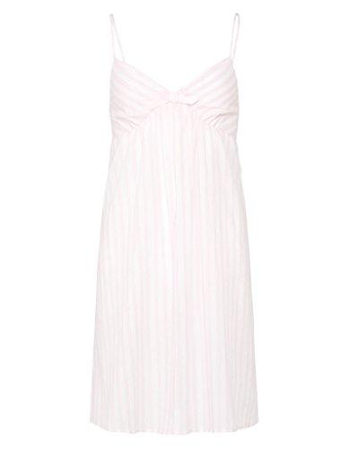 Slenderella ND7230 Women's Pink Stripe Woven Cotton Night Gown Loungewear Nightdress