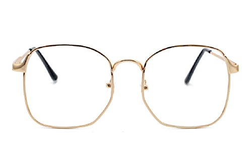 Unisex JTS3178 Metal Thin Frame Oversized Square Clear Lens Eye Glasses (Gold+black, - Rim Glasses Wire Thin