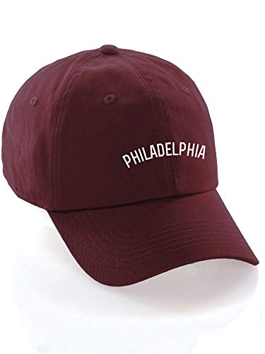 Daxton USA Cities Baseball Dad Hat Cap Cotton Unstructure Low Profile Strapback - Philadelphia Burgundy White