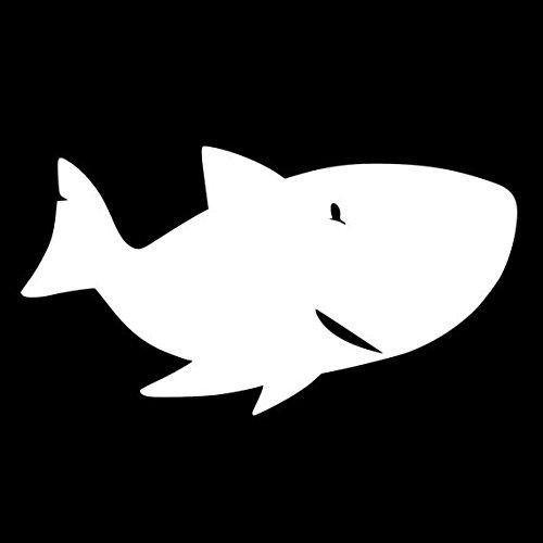 Happy Shark Decal Vinyl Sticker|Cars Trucks Vans Walls Laptop| White |5.5 x 3 in|LLI086 (Sharknado Fin)