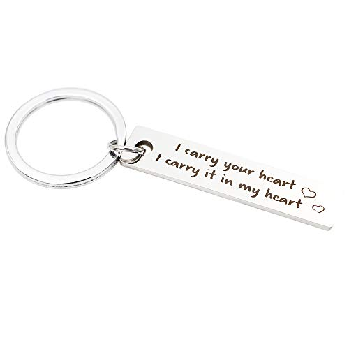 Funny Gifts for Him,I carry your heart I carry it in my heart, Heart Stamped,Stainless Steel Engraved Key Chain, Anniversary Birthday Valentines Day, Round Key Ring