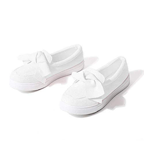 Susanny Loafers for Women Platform Sneakers Cute Bow Walking Shoes White 8.5 B (M) US