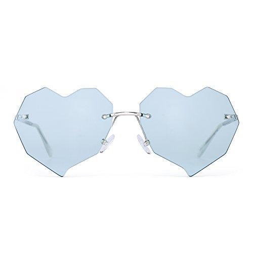 Verde de Remaches Con Anteojos Corazón Gafas Mujer Diseño Claro Lentes Sol Plateado Sin Marco Transparente Plano 6wdT7
