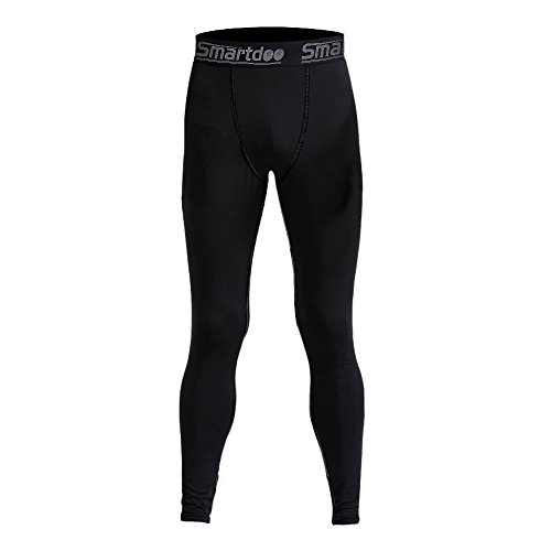 Smartdoo Men's Compression Cool Dry BaseLayer Pants Wear Under Leggings Sports Tight Long Pant for Men(Black, M)