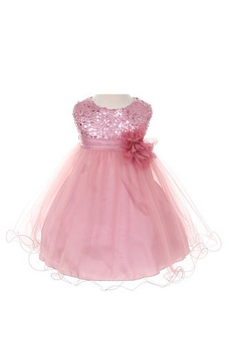 Sequin & Tulle Special Occasion Holiday Dress - Dusty Rose Baby M (6-12 Month) (Dress Rose Holiday)