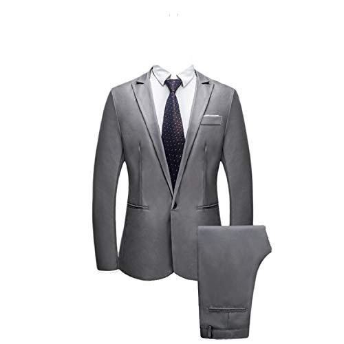TIFENNY Men's Slim Fashion Button Suit Sets Formal Pure Color Blazer Host Show Lapel Jacket Coat + Pant ()