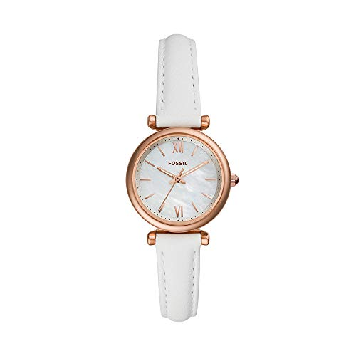 Fossil Women 'Carlie Mini' Quartz Stainless Steel and Leather Watch, Color:White (Model: ES4582)