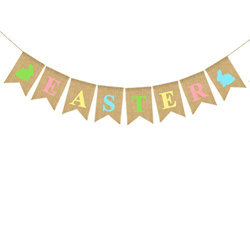 LUOEM Easter Burlap Banners Easter Hessian Bunting Banner Happy Easter Decorations Easter Decorating Ideas