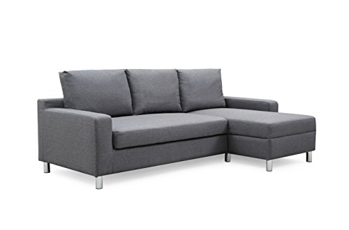 - Container Furniture Direct S0112-R Amelie Linen Upholstered Contemporary Modern Right-Sided Sectional Sofa with Bed, 83.9