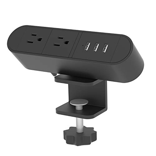 Desktop Edge Power Outlets with USB Ports,Desk Clamp Power Strip,Aluminum Alloy Fireproof Power Strip,Removable Desktop Mount Multi-Outlets for Home Office Reading