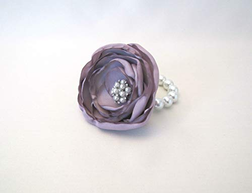 Mauve Wrist Corsage, Wedding Prom Rhinestone Brooch Bracelet, Lilac Pink Purple Mother of Bride, Vintage-Style Shabby Chic Keepsake