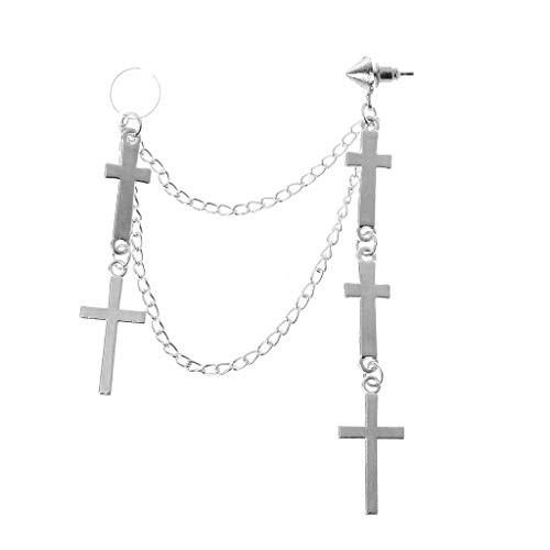 (XIAO-WU Gothic Punk Cross Long Tassel Double Chains Ear Cuff Earrings Fashion)