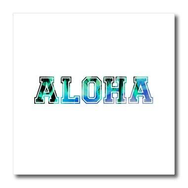 3dRose ht_151329_1 Aloha in Blue Turquoise Teal Sky - Iron On Palm Tree