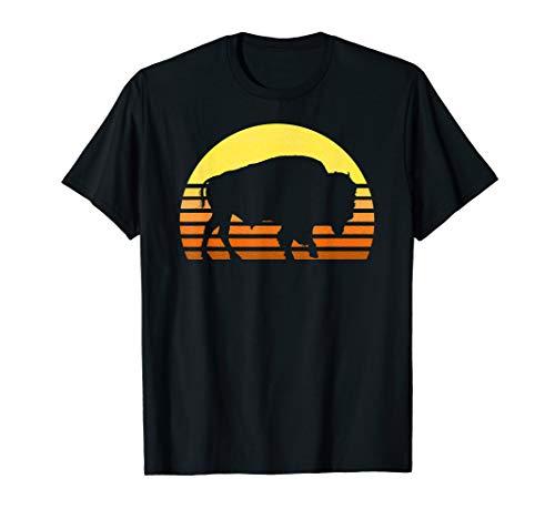 (Native American Bison Buffalo Bull Western Indian Retro Sun T-Shirt )