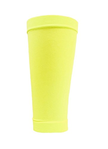 (CrossBones Sports Shin Guard Sleeves for Soccer (2 Pair Pack) (Neon Yellow))