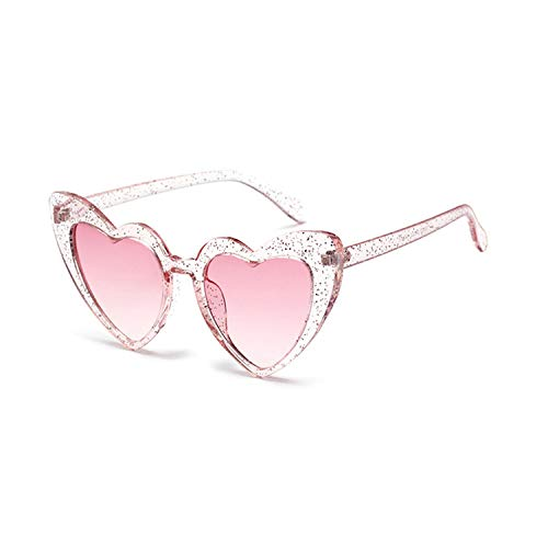 Metal Hinge Popular Heart Sharp Women Cat Eye Sunglasses Fashion Glitter Pink Glasses UV400,Glitter Pink