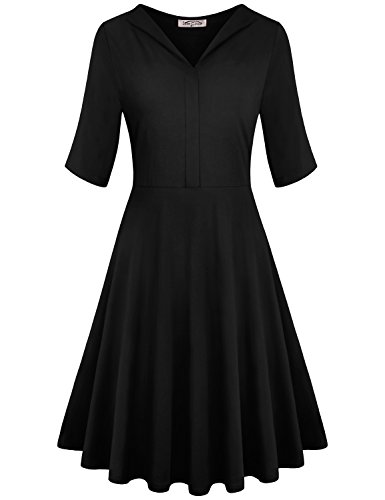 SeSe Code Empire Waist Dress Women Cotton Casual Tops Half Sleeve Shirt Plain Midi Petite Stand Collar Rouched Flowing Loose Fitting Puffy Black Work Dresses Large Halloween -
