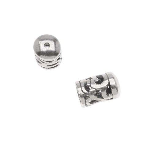 JBB Findings Antiqued Silver Plated Bead/Cord End Caps Openwork Vine Pattern 10.5x6.5mm (Vine Bead Cap)