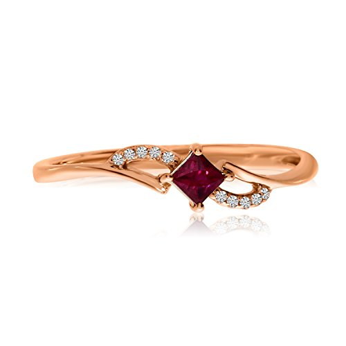 0.10 Carat (ctw) 14k Gold Princess Red Ruby and Diamond Accent Petite Solitaire Bypass Fashion Promise Ring (2.7 x 2.7 MM)