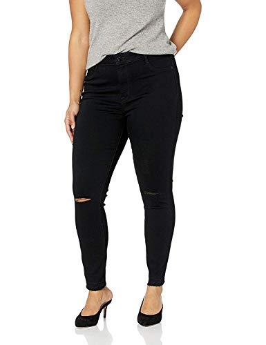 William Rast Women's Plus Size Sculpted High Rise Skinny Jean, Black - Kneel Slits, 20W