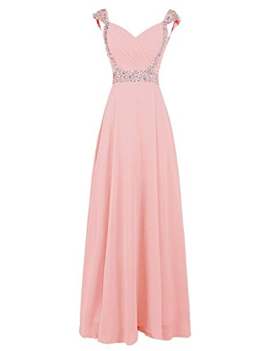 Beaded Dresses Bridesmaid Fanciest Sleeve Women's Long Gowns Chiffon Prom Blush Cap tYRURq