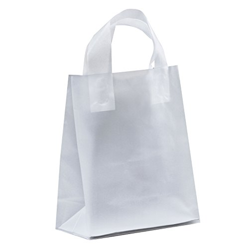 250 pcs Clear Frosted Loop Handle Plastic Shopping Bag - Frosted Clear Totes