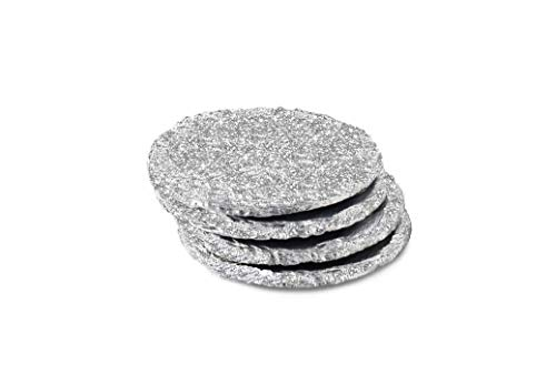 Renee Redesigns Handmade Silver Slate Glitter Coasters For Drinks | Protect Your Table Tops From Drink Rings and Spills | Unique 4-Piece Holiday Glitz Gift Set, Round - 4 x 4 inches