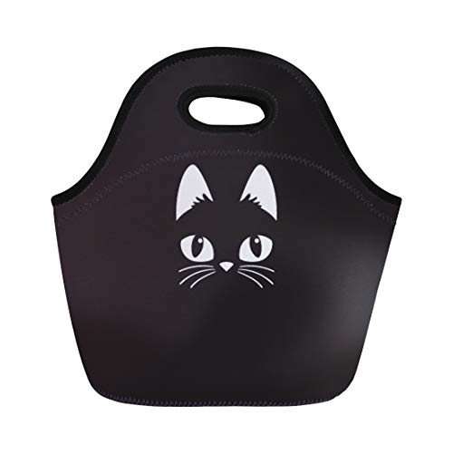 Semtomn Lunch Tote Bag Face Simple Cartoon Cat on Halloween Head Black Cute Reusable Neoprene Insulated Thermal Outdoor Picnic Lunchbox for Men Women