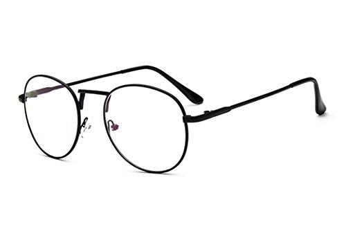 3dfc1fbc42 Sunbo Unisex Round Metal Frame Clear lens Vintage Retro Geek Fashion Glasses  Specs Black(Size  One Size)  Amazon.co.uk  Clothing
