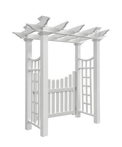 BestNest New England Fairfield Deluxe Arbor with Cottage Picket -