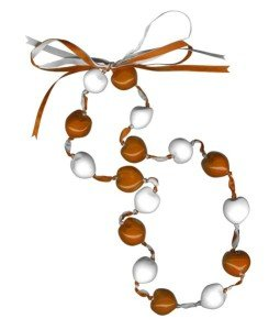Lucky Kukui Nuts Necklace - Orange/White by Innovative Marketing