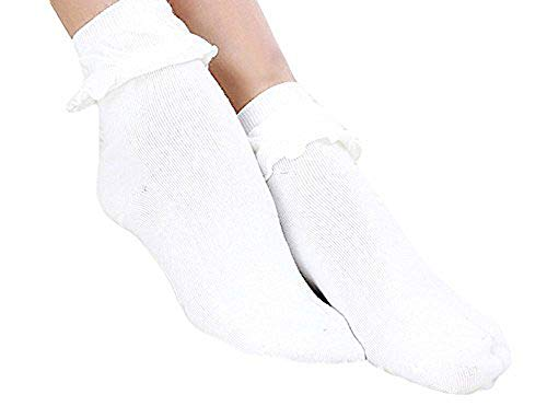 Qunson Women's Cotton Ruffle Frilly Trim Ankle Socks,White a,One Size ()