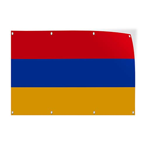 (Decal Sticker Multiple Sizes Armenia Flag Blue Red Yellow Countries Armenia Flag Outdoor Store Sign Red - 12inx8in, Set of 10)