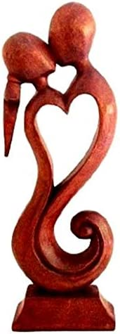 OMA Kiss Statue Forever Love Passion Abstract Art Wood Sculpture