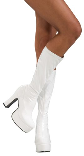 Secret Wishes High Heel Platform Costume Boots, White, Medium -