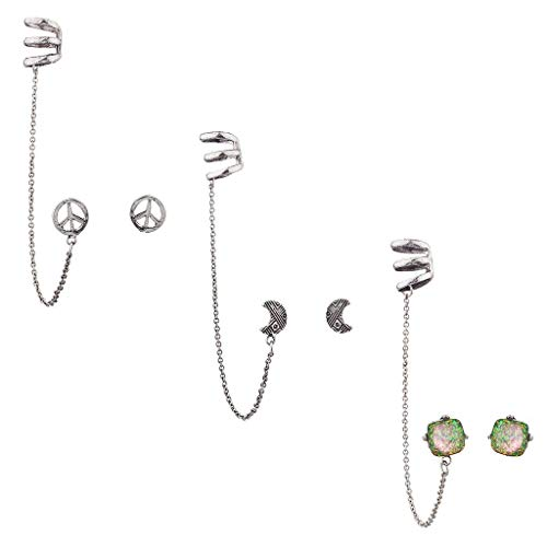 ish Silver Boho Peace Chain Ear Cuff Multi Earring Set 3PC ()
