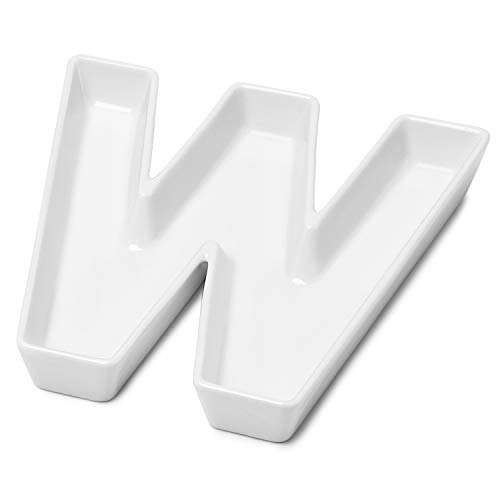 Sweese 708.923 Porcelain Letter Candy Dish, Letter W, White Candy Bowl - Decorative Serving Dish for Weddings, Anniversaries, Baby Showers, Birthday Parties, Table Decoration