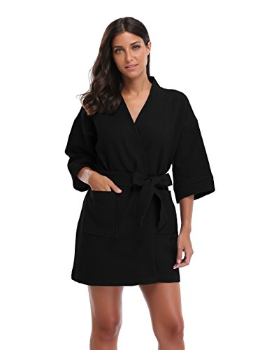 Luvrobes Women's Waffle Weave Kimono Robe, Solid Color, Short (L, Black)