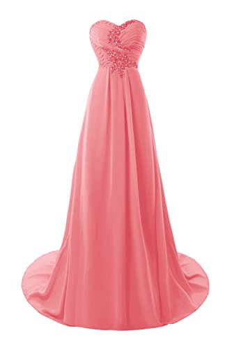 Bess A Prom Dresses Women's Watermelon Line 2017 Bridal Chiffon Crystals 717UrxHwq