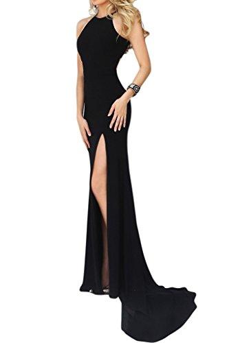 Festkleider Abendkleider Schwarz Partykleider Lang Etui Aermellos Damen Schlitz Stehkragen Missdressy Chiffon Elegant AwzqSW0Z